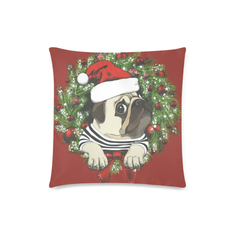 Image of Red Pug Christmas Zippered Pillow H6