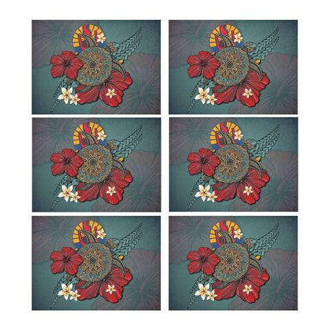 Tahiti Placemat - Blue Turtle Tribal A02