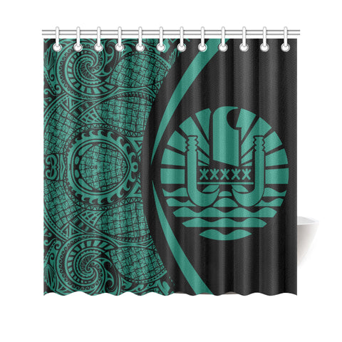 Image of Tahiti Polynesian Shower Curtain - Circle Style