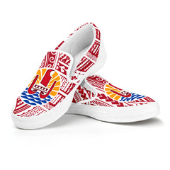 French Polynesia Slip On - Coat of Arms on Polynesian Pattern A0