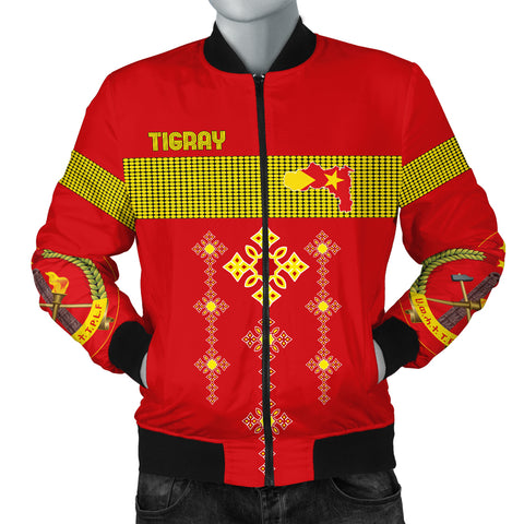 Image of 1stTheWorld Tigray Bomber Jacket, Tigray Round Pattern Flag Men A10