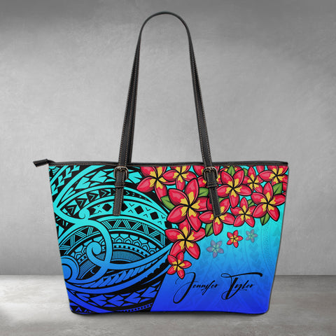 (Custom) Polynesian Leather Tote - Polynersian Plumeria Blue Personal Signature A24