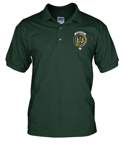 Johnstone Tartan Polo Shirt In Me Clan Badge K7