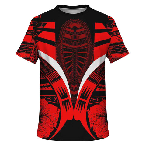 Polynesian Tattoo T Shirt Hibiscus Red - Front