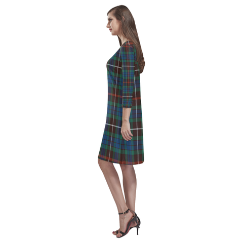 Image of Fraser Hunting Ancient Tartan Dress - Rhea Loose Round Neck Dress NN5