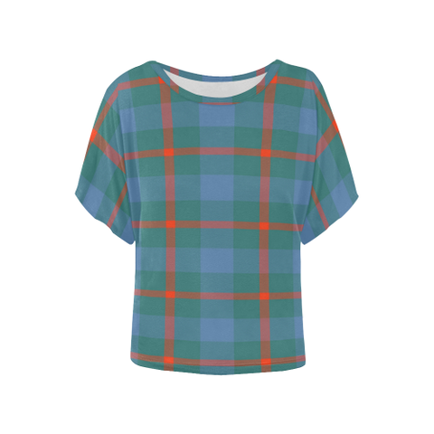 Image of Agnew Ancient  Tartan T Shirt - Women's Batwing-Sleeved Blouse K7