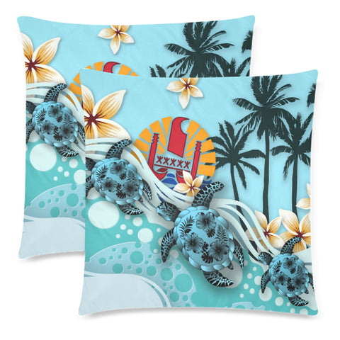 Tahiti Pillow Cases - Blue Turtle Hibiscus A24