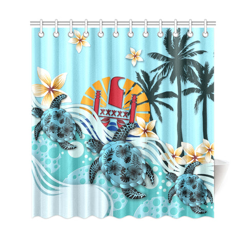 Image of Tahiti Shower Curtain - Blue Turtle Hibiscus | Love The World