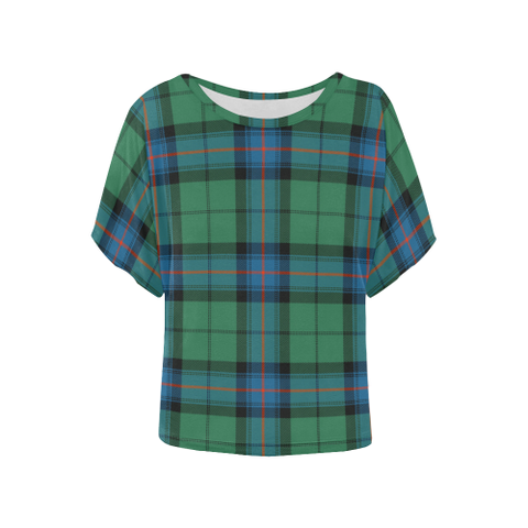 Image of Armstrong Ancient  Tartan T Shirt - Women's Batwing-Sleeved Blouse K7