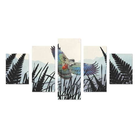 New Zealand Kea Bird Silver Fern 5 Piece Framed Canvas 03 k7 (No Frame)