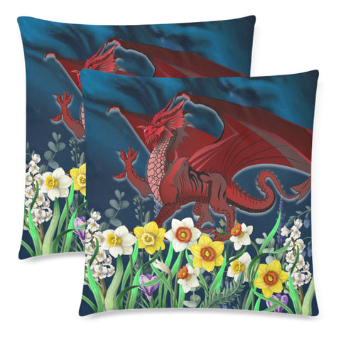 Image of Welsh Pillow Cases - Dragon Daffodil A024