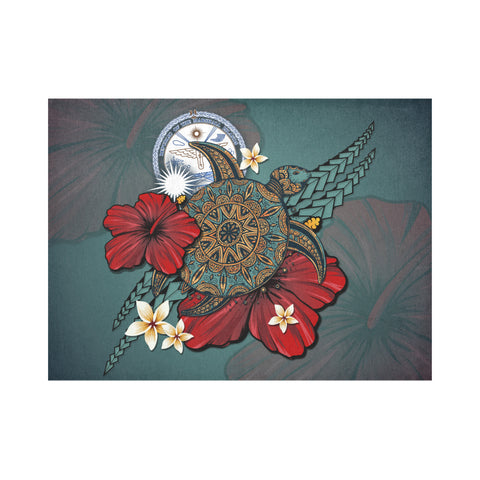 Marshall Islands Placemat - Blue Turtle Tribal A02
