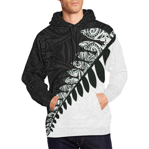 Image of New Zealand Silver Fern Hoodie Black White K4