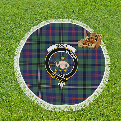 WOOD CLAN BADGE TARTAN BEACH BLANKET th8