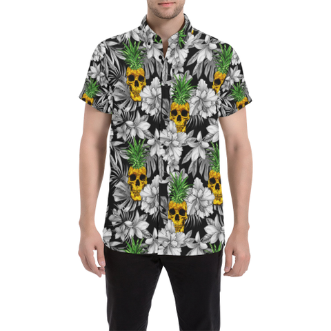SALE OFF,SALE,APPARELS,hawaiian,skull,HIBISCUS,PINEAPLLE,MEN'S SHORT SLEEVE SHIRT,shirt,MEN,HAWAII