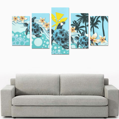 Image of Hawaii Canvas Print Sets - Blue Turtle Hibiscus A24
