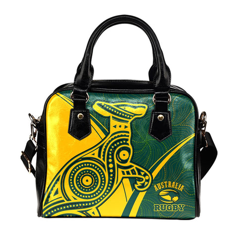 Australia Rugby Shoulder Handbags - Australian Rugby Kangaroo & Aboriginal Patterns - BN22
