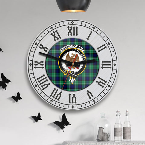 Image of Abercrombie Tartan Clan Badge Wooden Wall Clock - 2 Layers Version - BN