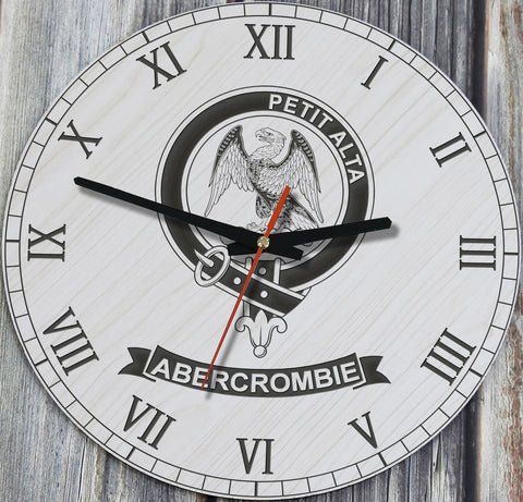 Image of Abercrombie Tartan Clan Badge Wooden Wall Clock HJ4