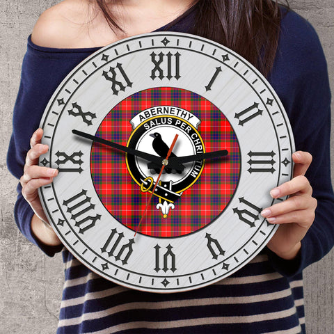 Abernethy Tartan Clan Badge Wooden Wall Clock - 2 Layers Version - BN