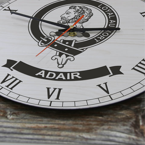 Image of Adair Tartan Clan Badge Wooden Wall Clock HJ4