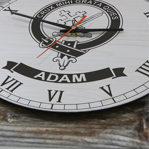 Image of Adam Tartan Clan Badge Wooden Wall Clock HJ4