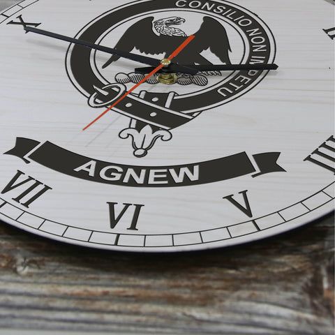 Image of Agnew Tartan Clan Badge Wooden Wall Clock HJ4