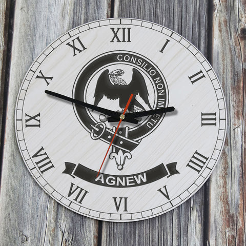 Agnew Tartan Clan Badge Wooden Wall Clock HJ4