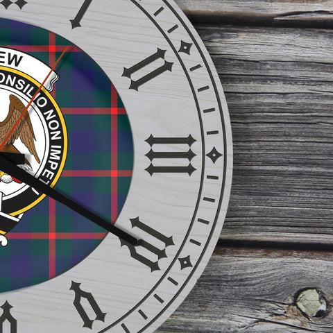 Agnew Tartan Clan Badge Wooden Wall Clock - 2 Layers Version - BN