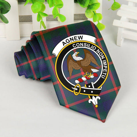 Agnew Tartan Tie with Clan Crest TH8
