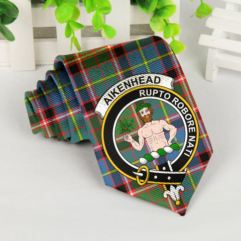 Aikenhead Tartan Tie with Clan Crest TH8