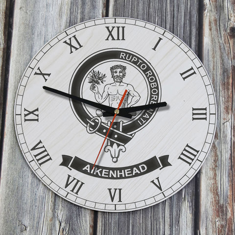Image of Aikenhead Tartan Clan Badge Wooden Wall Clock HJ4