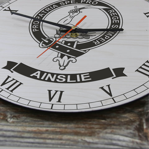 Image of Ainslie Tartan Clan Badge Wooden Wall Clock HJ4