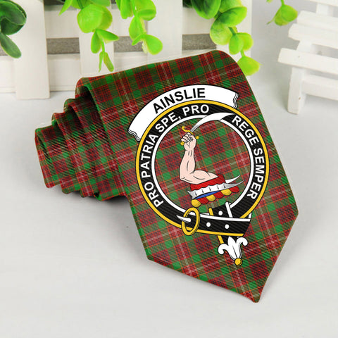 Ainslie Tartan Tie with Clan Crest TH8