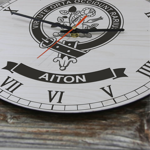 Aiton Tartan Clan Badge Wooden Wall Clock HJ4