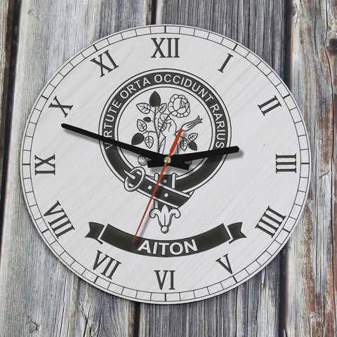Image of Aiton Tartan Clan Badge Wooden Wall Clock HJ4