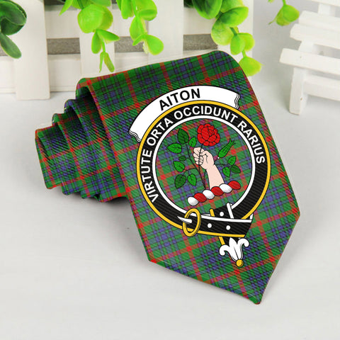 Aiton Tartan Tie with Clan Crest TH8