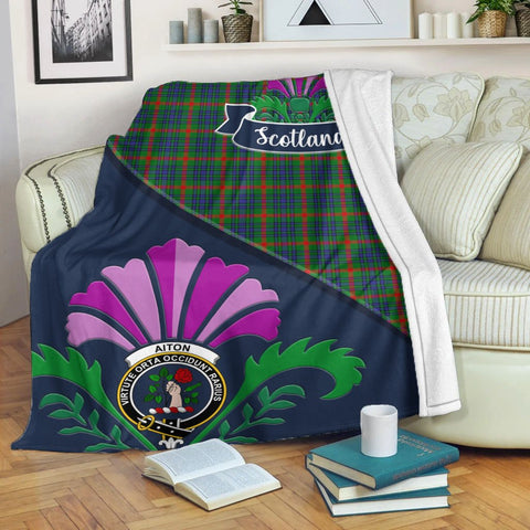 Aiton Crest Tartan Blanket Scotland Thistle | Tartan Home Decor | Scottish Clan