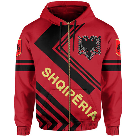 Albanian Hoodie Zip - Flag European Nations Style