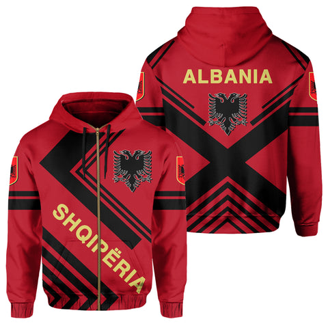 Albania Hoodie Zip - Flag European Nations Style