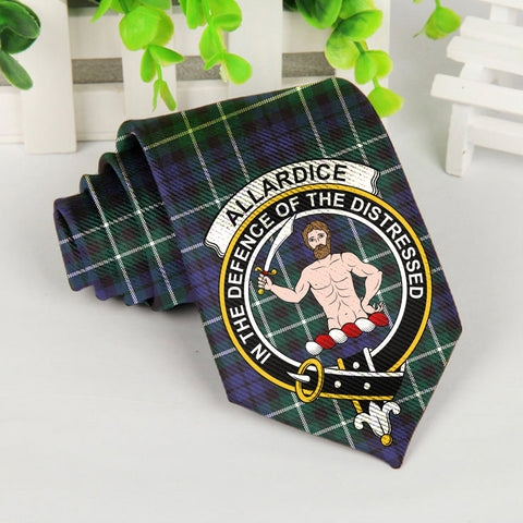 Allardice Tartan Tie with Clan Crest TH8