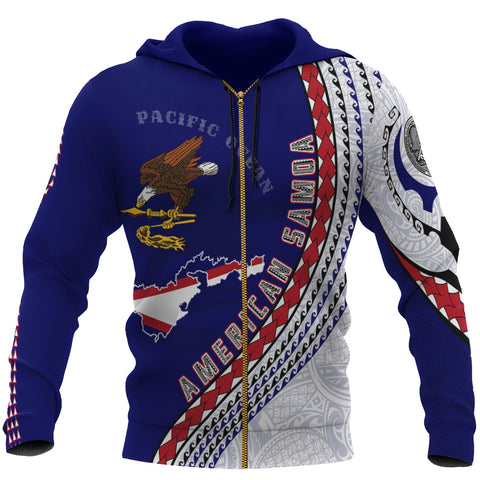 American Samoa Zip Up Hoodie - American Samoa Map Generation IV Zip Up Hoodie - Dark Blue - Front - For Men and Women