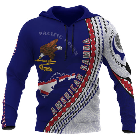American Samoa Hoodie - American Samoa Map Hoodie Generation IV - Dark Blue - Front - For Men and Women