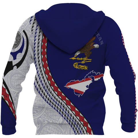 Image of American Samoa Zip Up Hoodie - American Samoa Map Generation IV Zip Up Hoodie - Dark Blue - Back - For Men and Women