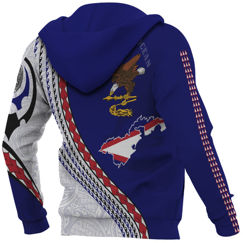 Image of American Samoa Zip Up Hoodie - American Samoa Map Generation IV Zip Up Hoodie - Dark Blue - Back and Sleeves - For Men and Women