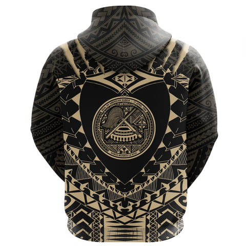 Image of American Samoa Tattoo Rugby Zip Hoodie - Tan K5