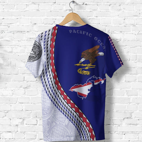 Image of American Samoa T Shirt - American Samoa Map T-Shirt Generation IV - Dark Blue - Back - for Men and Women