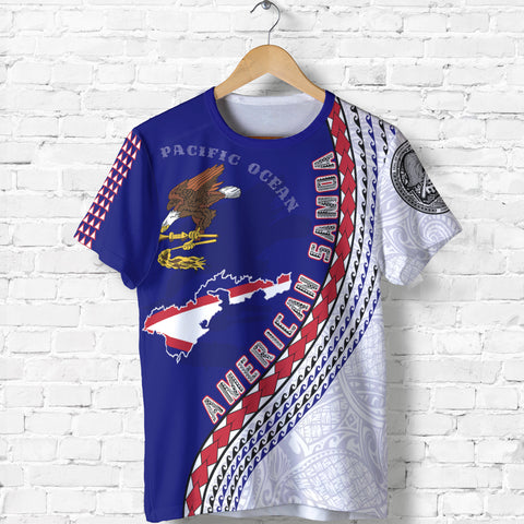 Image of American Samoa T Shirt - American Samoa Map T-Shirt Generation IV - Dark Blue - Front - for Men and Women