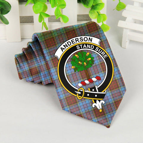 Anderson Tartan Tie with Clan Crest TH8