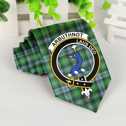 Arbuthnot Tartan Tie with Clan Crest TH8